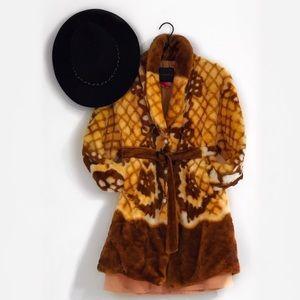 Vintage Faux Fur Yellow & Brown Patterned Coat